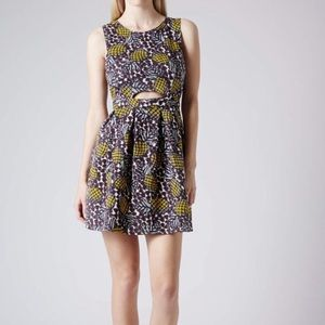 TopShop Pineapple Print Cut Out Fit & Flare Dress